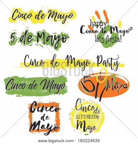 Set with different lettering Cinco de Mayo with colorful splashes of paint in traditional colors of holiday isolated on white background. Vector illustration