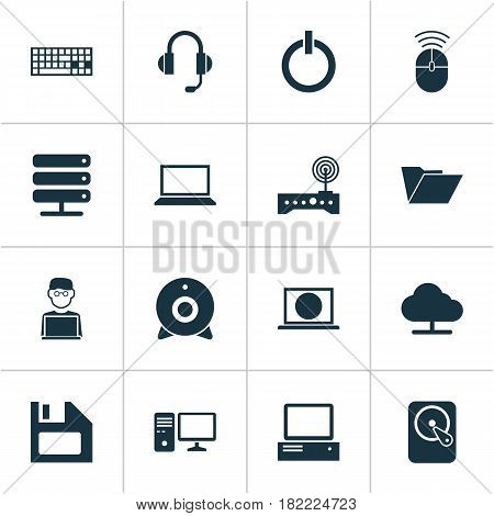 Computer Icons Set. Collection Of Diskette, Web, Laptop And Other Elements. Also Includes Symbols Such As Button, Hard, Dossier.