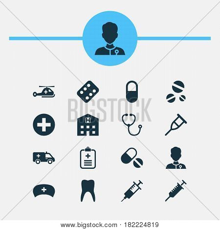 Antibiotic Icons Set. Collection Of Cure, Injection, Pills And Other Elements. Also Includes Symbols Such As Medicine, Stings, First-Aid.