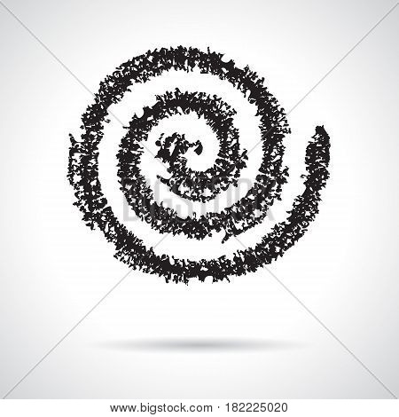 Spiral symbol hand painted crayon. Decorative graphic design element. Concentric curvy shape, swirling swash isolated on white background. Movement, endless time, cycle concept. Vector illustration