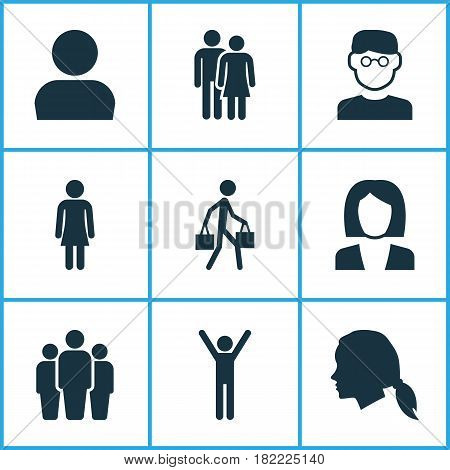 Person Icons Set. Collection Of Businesswoman, Beloveds, Female And Other Elements. Also Includes Symbols Such As Unity, Rejoicing, Businesswoman.