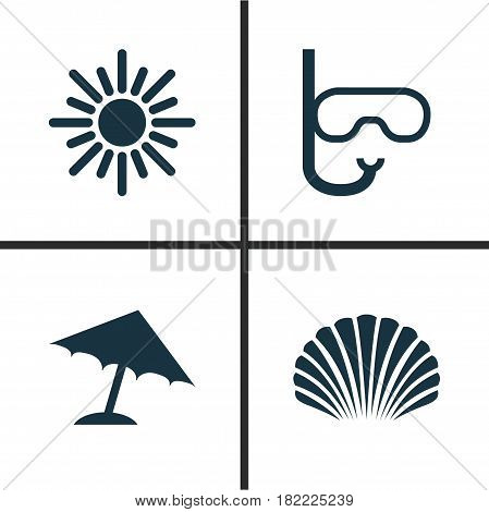 Sun Icons Set. Collection Of Conch, Sunny, Parasol And Other Elements. Also Includes Symbols Such As Sun, Beach, Tube.