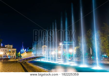 Batumi, Adjara, Georgia. Singing And Dancing Fountains Is Local Landmark At Boulevard Fountains. Night Illuminations.