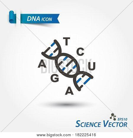 DNA icon ( Deoxyribonucleic Acid ) . Scientific vector .
