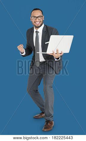 Indian Asian Man Business Laptop Success