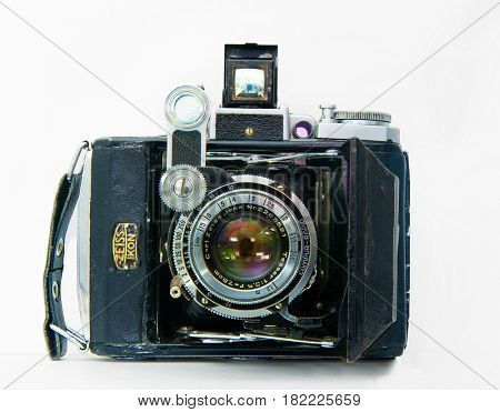 RUSSIA, ROSTOV-APERL 5,2017. A front view of the NICON. A 35mm film. The lens is Carl Zeiss. Produced in the late 30-early 40's . Photo camera photographed on white background.