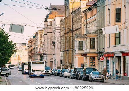 Riga, Latvia - July 2, 2016: Public bus on summer Boulevard Of Freedom street in Riga, Latvia