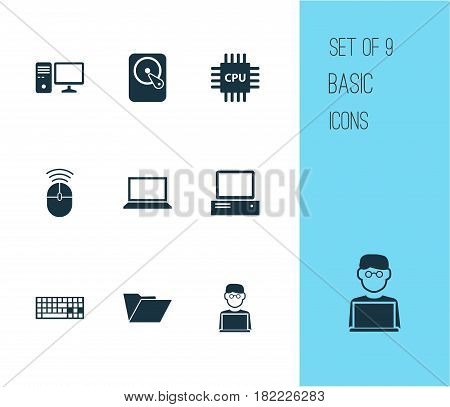 Notebook Icons Set. Collection Of Laptop, Monitor, Dossier And Other Elements. Also Includes Symbols Such As Microprocessor, Dossier, Disk.