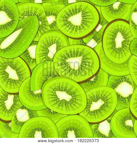 Ripe juicy kiwi seamless background. Vector card illustration. Closely spaced fresh kiwifruit peeled, piece of half, slice, seed seamless pattern for packaging design of healthy food and detox diet