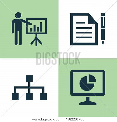 Trade Icons Set. Collection Of Hierarchy, Presenting Man, Contract And Other Elements. Also Includes Symbols Such As Man, Page, Contract.
