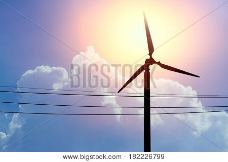 Clean Energy For Life, Wind Turbines Power From Air With Sun Cloud Sky Background