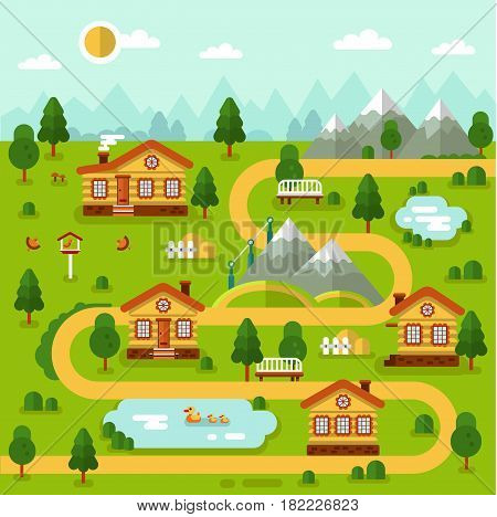 Flat design vector illustration of mountain village map. Included cartoon houses, two ponds with ducks, road, bench, birds feeder. Rest in the countryside.
