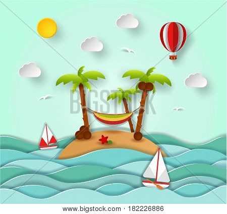 Paper art carving with tropical island, sun, palm, coconut, hammock, sailing boat, air balloon. Summer vacation, perfect holidays concept. Vector nature landscape illustration in cut style.