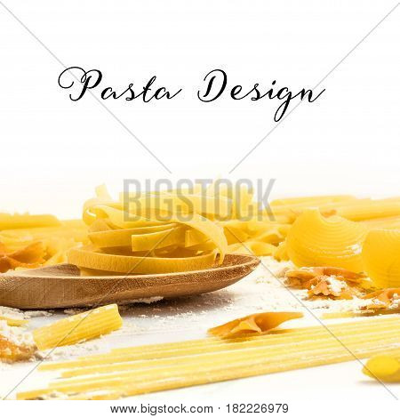 Various types of pasta with flour on a white background with a place for text, a square template