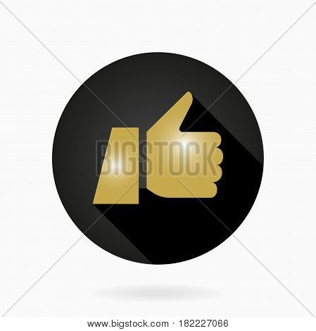 Fine icon with golden thumb up in circle. Flat design with long shadow