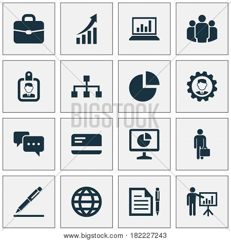 Trade Icons Set. Collection Of Presenting Man, Group, Statistics And Other Elements. Also Includes Symbols Such As Presentation, Screen, Contract.