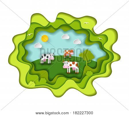 Paper art carving with three cute cow on the meadow. Including sun, clouds, birds, tree. Vector illustration in cut style. Farm animal, agriculture concept.