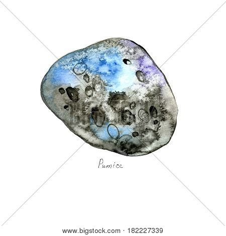 Watercolor pumice stone isolated on white background