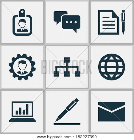 Business Icons Set. Collection Of Hierarchy, Leader, Contract And Other Elements. Also Includes Symbols Such As Mail, Hierarchy, Structure.
