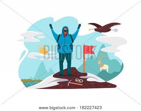 Happy mountaineer on top mountain. Goal achievement flat vector illustration