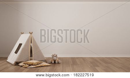 Kids minimalist white background with child tent blanket pillow and toy on parquet flooring child room nursery interior design, 3d illustration