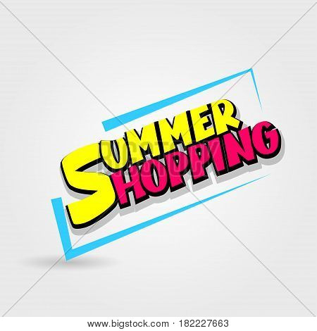 Summer shopping sale advertising web label badge. Comic text speech bubble. Vector illustration best price and discount. Special offer tag colored paper banner for print. Sticker rates.
