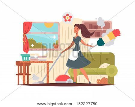 Girl housekeeper cleans apartment, vacuums and wipes dust. House cleaning vector illustration