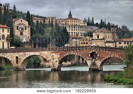 Panoramic view of Ponte Pietra bridge in Verona, Italy