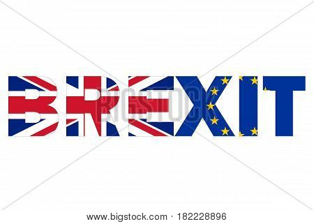 Brexit text written with UK and EU flag