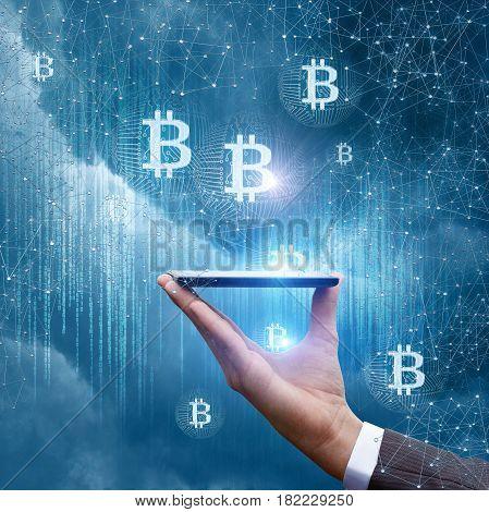 Phone Show Bitcoin .