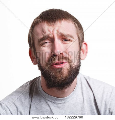 Fail again. Unhappy man expressing sorrow on face, grimacing on white isolated background, portrait, copy space