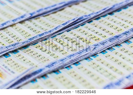 Bangkok, Thailand - December 21, 2016: Thai Government Lottery Or Lotto Sale In The Market Stall.