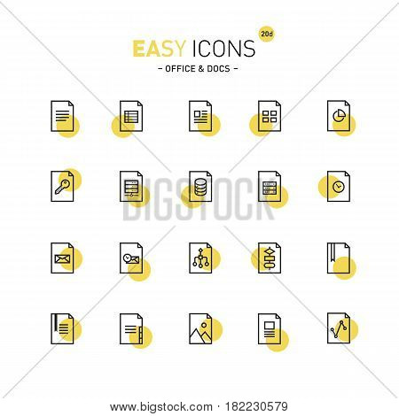 Vector thin line flat design icons set for document and file formats themes