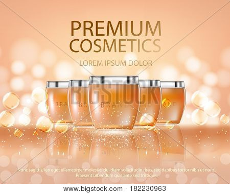 Cosmetics glass bottle mockup for ads or magazine of premium body cream for skin care. Template for design on bokeh background with transparent liquid drip on background. Illustration in 3d vector.