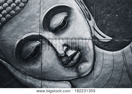 Peace Of Buddhism. Thai Style Buddha Face Beautiful Traditional Culture Art Decoration.