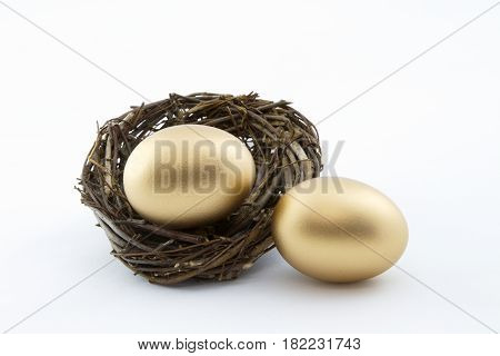 Successful business fortunes in double lucky symbols of two gold nest eggs in horizontal image with white background.