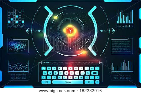User interface HUD and Infographic elements design. Futuristic virtual graphic touch user interface with thermal scanner. Motion UI screen target crosshair.