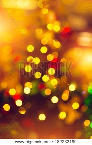 Christmas Tree Blur Bokeh Night Light Background