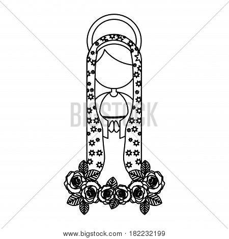 silhouette figure fasceless virgin maria cartoon with aureole vector illustration