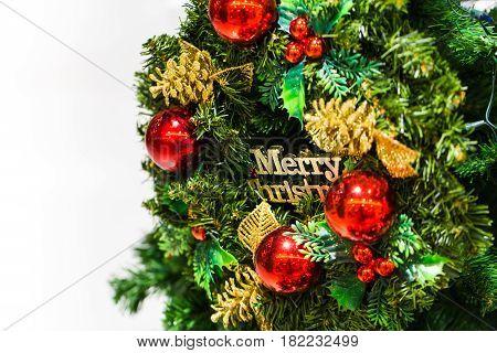 Christmas New Year Festival Tree Decoration Isolated On White Background
