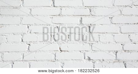 Old Stucco White Brick Wall. Abstract Whitewash Brickwall Background Texture. Vintage Wallpaper Web banner Wide Screen Close up For design
