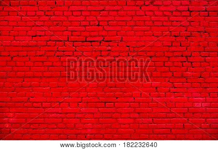 Stained Uneven Old Stucco Painted Red Brick Wall. Abstract Brickwall Background Texture. Modern Style Design Home House Interior. Beautiful Horizontal Wallpaper With Copy Space
