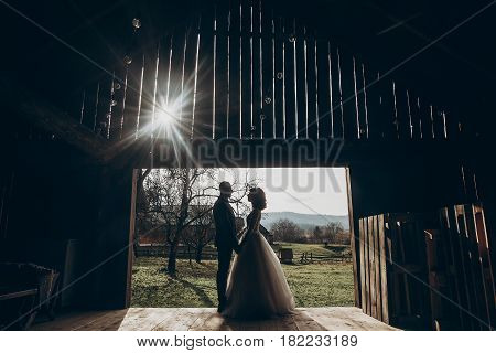 Stylish Bride And Groom Hugging In Sun Light On Background Of Wooden Wall In Barn. Rustic Wedding Co