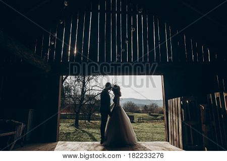 Stylish Bride And Groom Kissing In Sun Light On Background Of Wooden Wall In Barn. Rustic Wedding Co