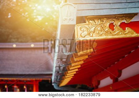 Japanese Red Temple In Kyoto In The Morning- Fushimi Inari Taisha Shrine.