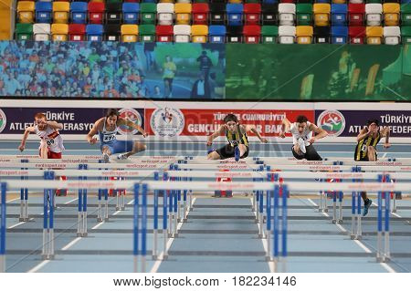 ISTANBUL TURKEY - FEBRUARY 05 2017: Athletes running during Turkcell Turkish Youth Indoor Championships