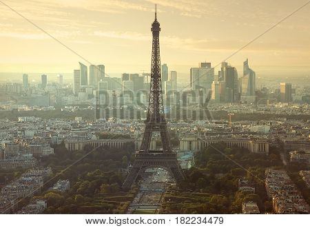 Aerial view on Eiffel Tower and district la Defense in Paris, France