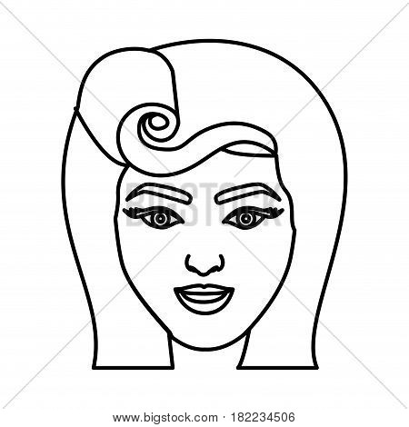silhouette drawing of face woman with pin up swirl hairstyle vector illustration