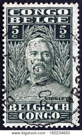 BELGIAN CONGO - CIRCA 1928: a stamp printed in Belgian Congo shows Sir Henry Morton Stanley Explorer circa 1928