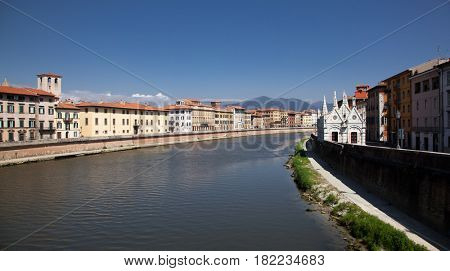 travel amazing Italy series - Arno River and Santa Maria della Spina Church, Pisa, Tuscany,